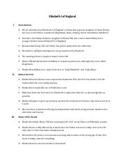Elizabeth I of England Short Story outline