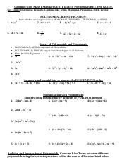Unit 6 Test Polynomials Review Guide