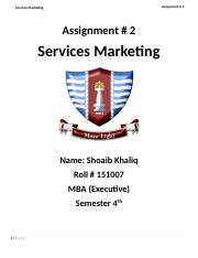 Services Marketing (Assignemt #2).docx