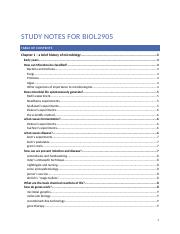 Study notes for BIOL2905 (Autosaved)