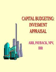CAPITAL BUDGETING & INVESTMENT APPRAISAL