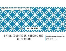 LECTURE 7 - Living Conditions (Guest Speaker Carol Manseau) (UPDATED)