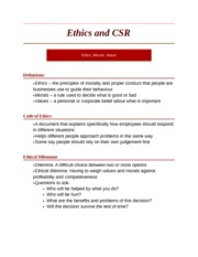Ethics and CSR