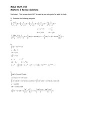 Math 152 AU10 Exam 2 Review Solutions