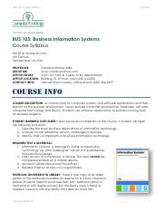 BUS 103 - Syllabus - 2016 Fall - Online