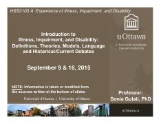 LECTURE 1 - Illness, Impairment, and Disability