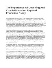 Persuasive Essay Thesis The Importance Of Coaching And Coach Education Physical Education Essaydocx   The Importance Of Coaching And Coach Education Physical Education Essay How To Write A Good Thesis Statement For An Essay also Sample Of Proposal Essay The Importance Of Coaching And Coach Education Physical Education  Essay On Religion And Science
