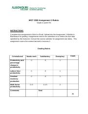 MGT 2320 Assignment 1 Rubric_2015