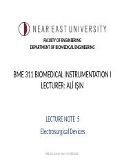 BME 311 Biomedical Instrumentation I-Lecture Note 5-Electro Surgical Unit