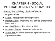 SOC1013 CHAPTER 4 - SOCIAL INTERACTION