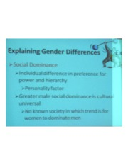 PSYCH 360 Social Psychology - Explaining Gender Differences