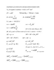 CH301 Chapter 9&10 constants & Equations post