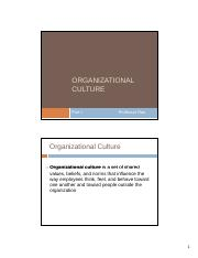 Chapter 17 - Organizational Culture