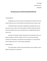 Recognizing and Addressing Mental Blocks