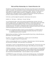 mass relationships in chemical reactions essay Free essay: stoichiometry i introduction/ purpose: stoichiometry is the study of  the quantitative, or measurable, relationships that exist in chemical  the  reaction of copper (ii) sulfate, cuso4, mass of 70015g with 20095g.