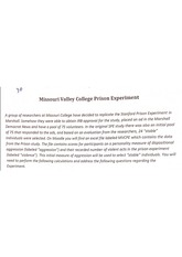 missouri valley prison experiment homework