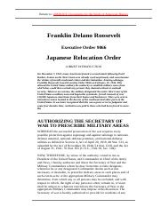 Japanese Relocation, 1942 _ Franklin D. Roosevelt _ Executive Order 9066 _ AMDOCS_ Documents for the