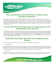 MA0-103 McAfee Certified Product Specialist Exam Dumps