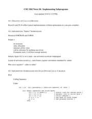 Lecture Notes on Implementing Subprograms