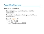 Lecture 13 - Assemblers, Linkers, and Misc ISA