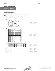 Lesson 6 quiz.pdf - Name Date Ready Mathematics Lesson 6Quiz Solve the problems 1 Determine if ...