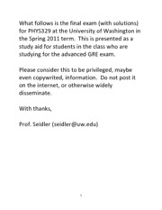 final exam phys329 2011 solutions