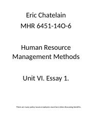 Good Proposal Essay Topics  Business Management Essays also Thesis Statements For Essays Hrm Unit Viii Essay   Eric Chatelain Mhr O Human  Pollution Essay In English
