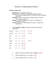 Test 4 answers 3 - Worksheet 25 Oxidation/Reduction Reactions ...