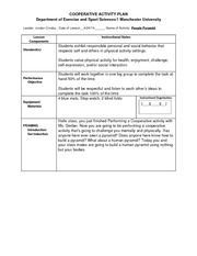Cooperative Activities LESSON PLAN