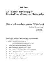 Reaction Paper of Important Photographer . BOWEN DENG