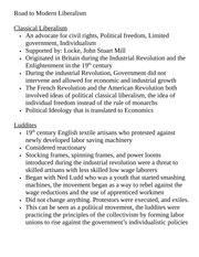Course Pack History G9 Class Notes Road to Modern Liberalism