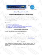 Tutorial for Green's Functions, Materials Reliability Division, N.I.S.T