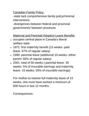 Geo 2143B Lecture Notes Canadian Family Policy