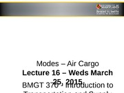 Lecture 16 - Modes_Air Cargo