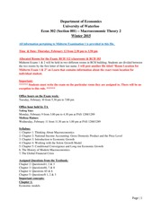 Syllabus, Procedure & Sample Questionnaire for Exam 1 - Section 001
