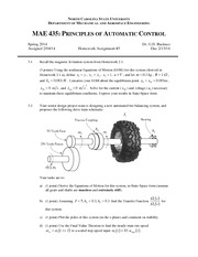 Homework C on Principles of Automatic Control