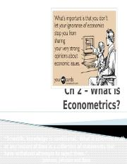 Ch 2 What is Econometrics