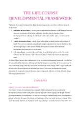 THE LIFE COURSE DEVELOPMENTAL FRAMEWORK