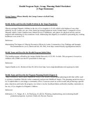 Planning Model Worksheet