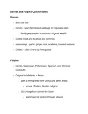 Korean and Filipino Cuisine Notes