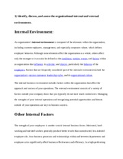 Internal and External Organization Environments