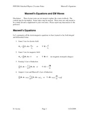 Study Guide on Maxwell Equations