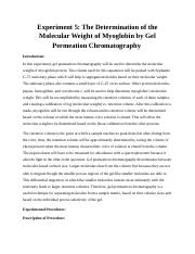 Chem 241 The Determination of the Molecular Weight of Myoglobin by Gel Permeation Chromatography.doc