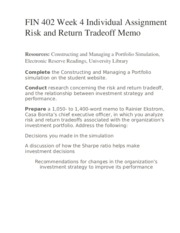 FIN 402 Week 4 Individual Assignment Risk and Return Tradeoff Memo