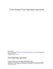 Team Orange Team Operating Agreement