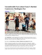 Culture France Terrorism Uncomfortable Facts about Burkini Controversy WashPost Aug 2016.docx