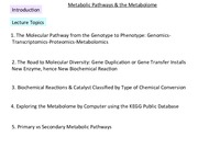 Metabolic Pathways & Metabolome Lec #5