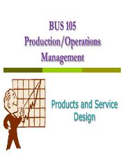 Chapter 4 & 4S - Product & Service Design
