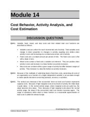 ACG 6315 HW Module 14 Answer Key Cost Behavior, Activity Analysis and Cost Estimation