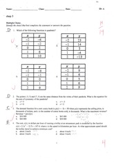 MCR3U Quadratic Functions Quiz Solutions